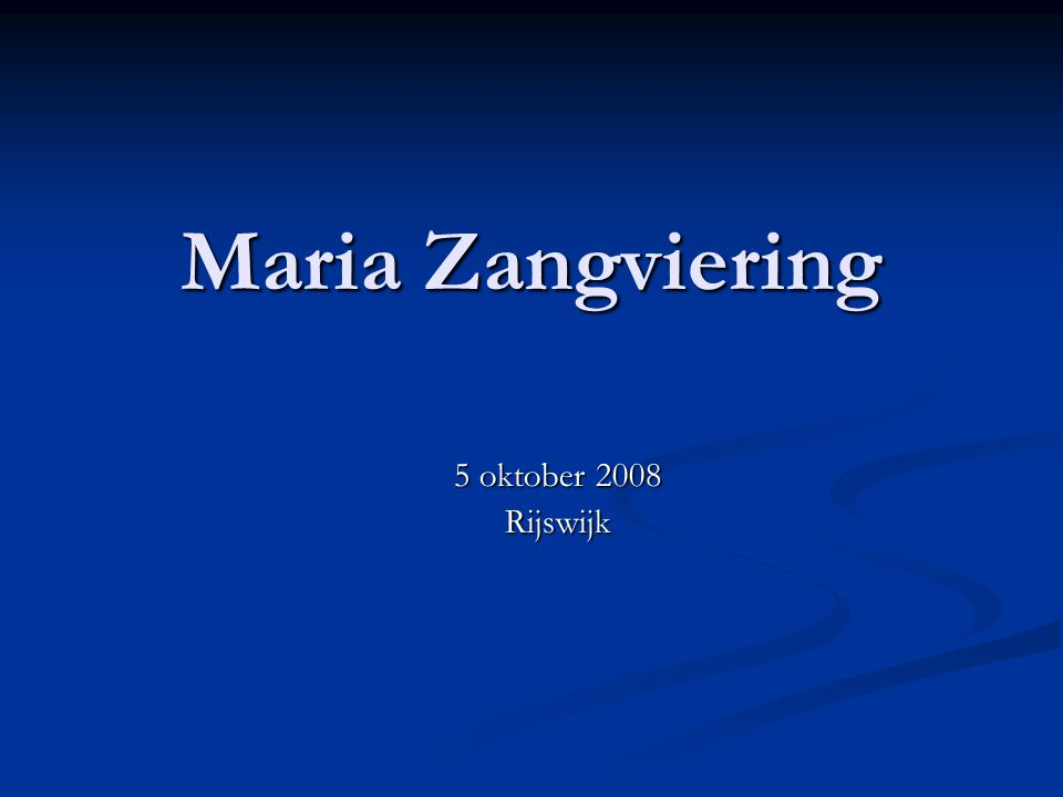 Maria Zangviering 5 oktober 2008 Rijswijk