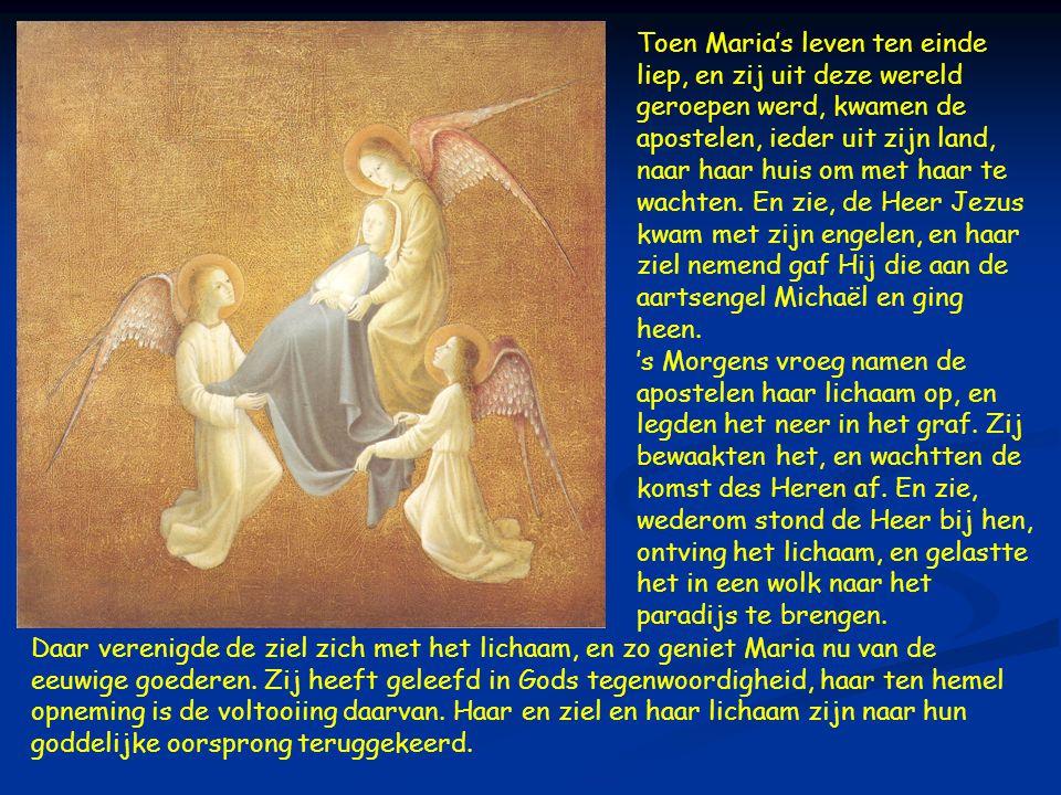  Toen Maria's leven ten einde liep, en zij uit deze wereld geroepen werd, kwamen de apostelen, ieder uit zijn land, naar haar huis om met haar te wachten.