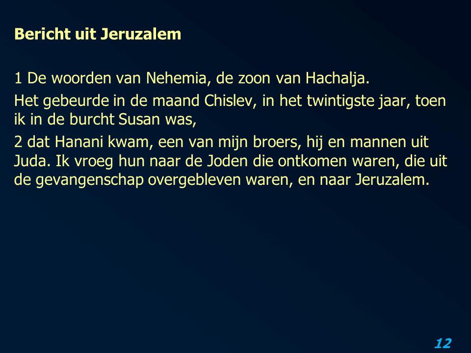 12 Bericht uit Jeruzalem 1 De woorden van Nehemia, de zoon van Hachalja.