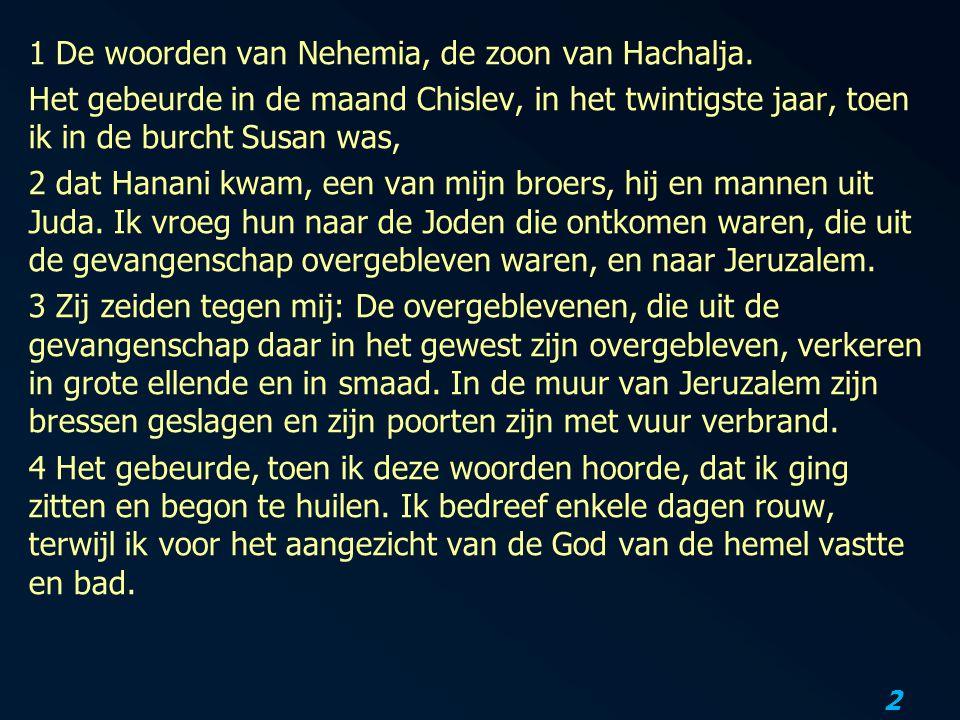 2 1 De woorden van Nehemia, de zoon van Hachalja.