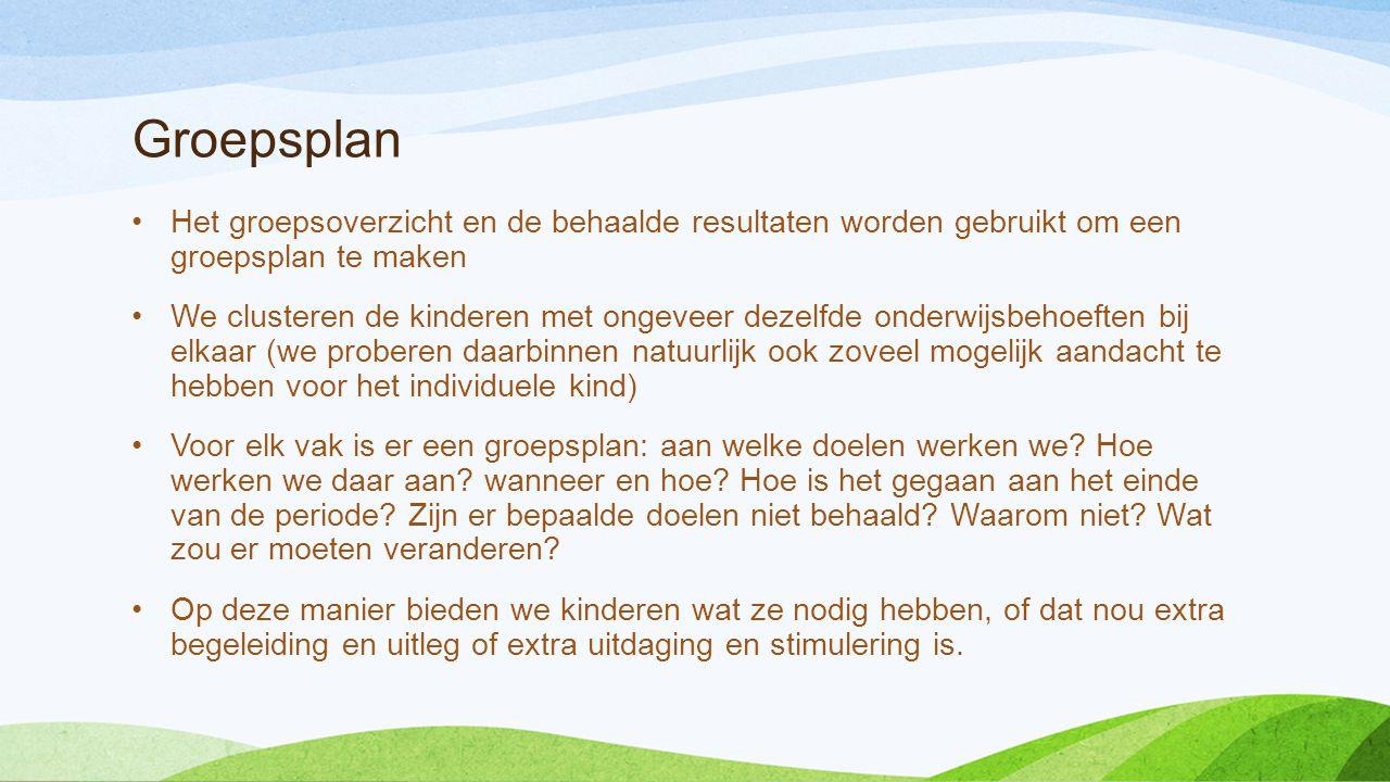 Groepsplan •Het groepsoverzicht en de behaalde resultaten worden gebruikt om een groepsplan te maken •We clusteren de kinderen met ongeveer dezelfde o