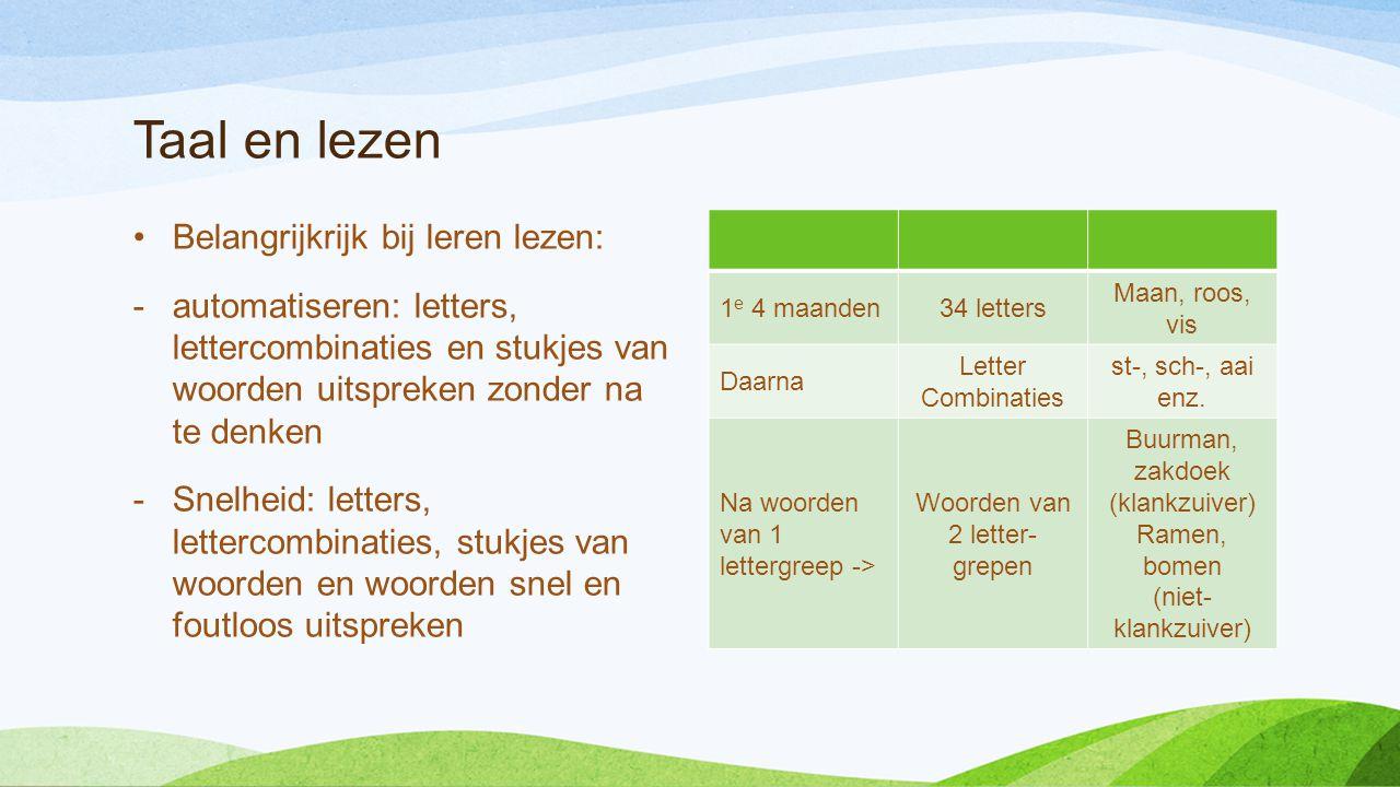 Taal en lezen •Belangrijkrijk bij leren lezen: -automatiseren: letters, lettercombinaties en stukjes van woorden uitspreken zonder na te denken -Snelh