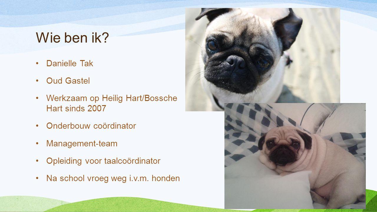 Wie ben ik? •Danielle Tak •Oud Gastel •Werkzaam op Heilig Hart/Bossche Hart sinds 2007 •Onderbouw coördinator •Management-team •Opleiding voor taalcoö