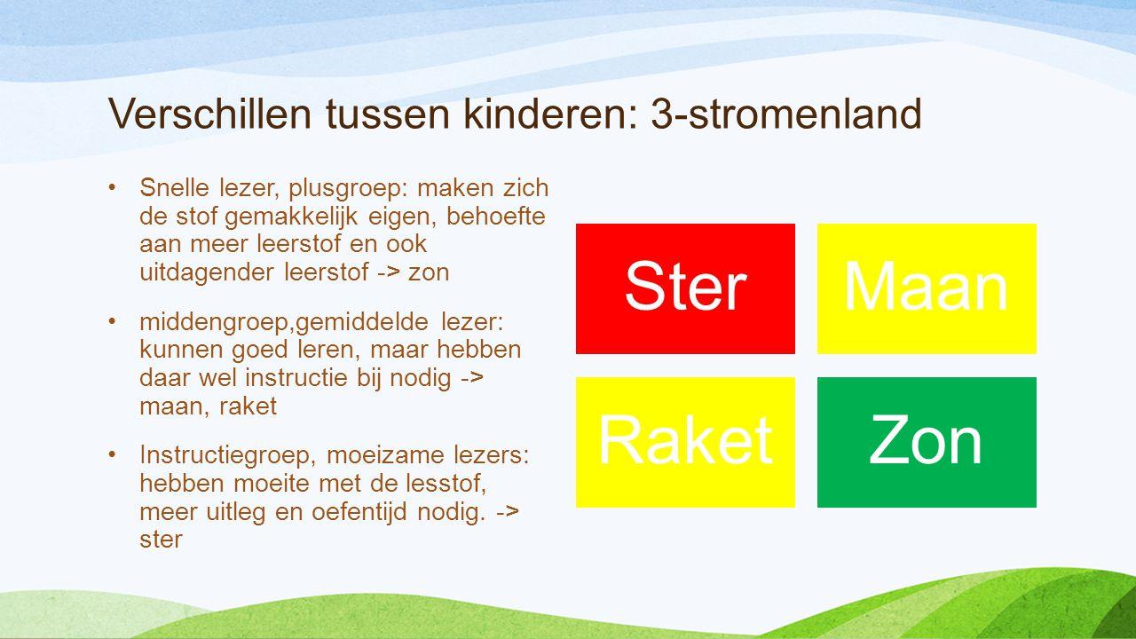 Verschillen tussen kinderen: 3-stromenland •Snelle lezer, plusgroep: maken zich de stof gemakkelijk eigen, behoefte aan meer leerstof en ook uitdagend