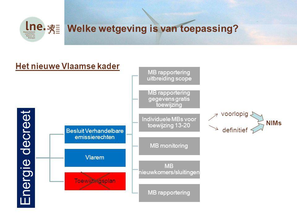 Het nieuwe Vlaamse kader Energie decreet Besluit Verhandelbare emissierechten MB rapportering uitbreiding scope MB rapportering gegevens gratis toewij