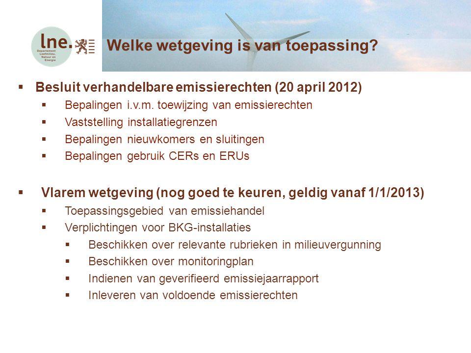  Besluit verhandelbare emissierechten (20 april 2012)  Bepalingen i.v.m. toewijzing van emissierechten  Vaststelling installatiegrenzen  Bepalinge