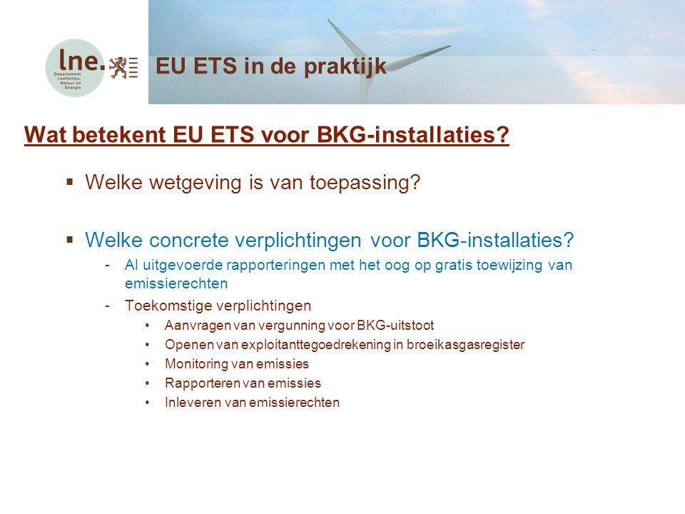 Wat betekent EU ETS voor BKG-installaties?  Welke wetgeving is van toepassing?  Welke concrete verplichtingen voor BKG-installaties? -Al uitgevoerde
