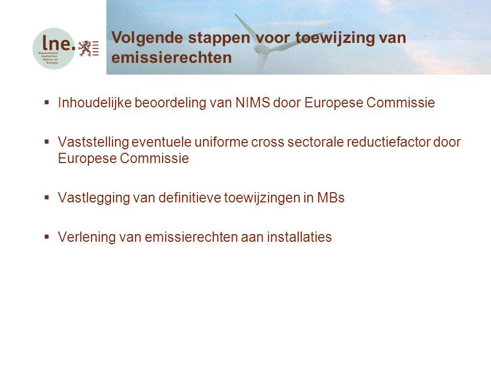  Inhoudelijke beoordeling van NIMS door Europese Commissie  Vaststelling eventuele uniforme cross sectorale reductiefactor door Europese Commissie 