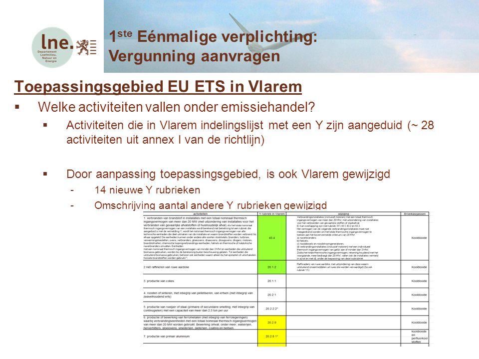 Toepassingsgebied EU ETS in Vlarem  Welke activiteiten vallen onder emissiehandel?  Activiteiten die in Vlarem indelingslijst met een Y zijn aangedu