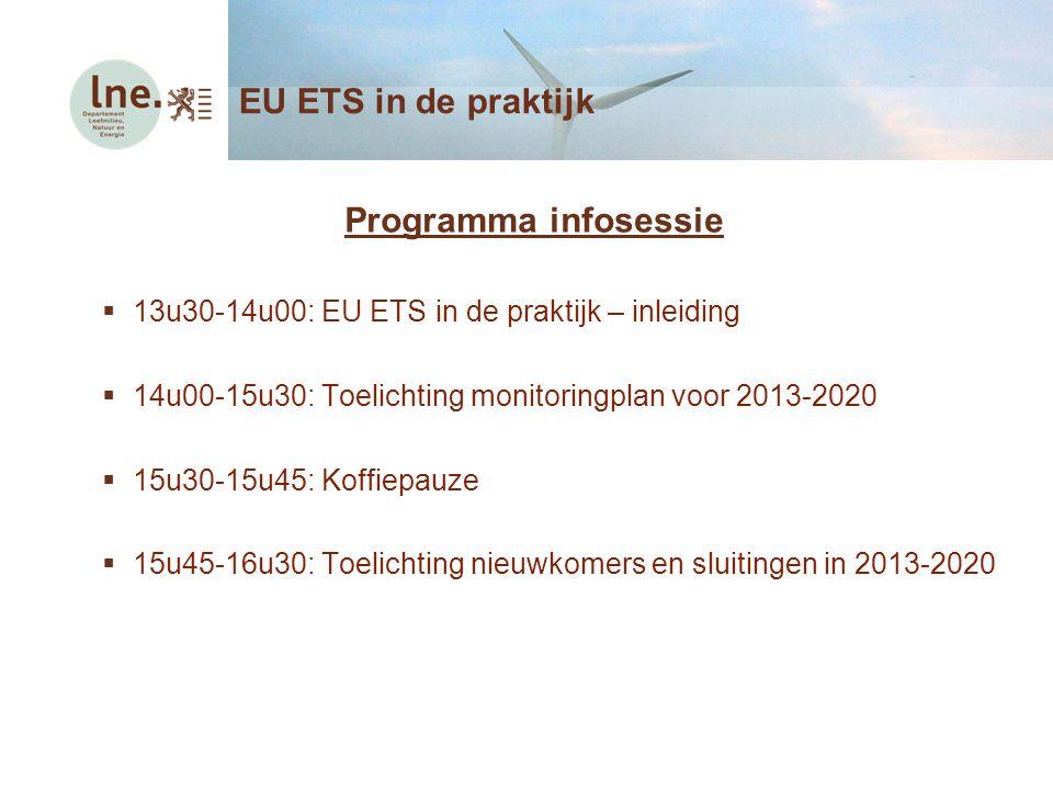 Programma infosessie  13u30-14u00: EU ETS in de praktijk – inleiding  14u00-15u30: Toelichting monitoringplan voor 2013-2020  15u30-15u45: Koffiepa