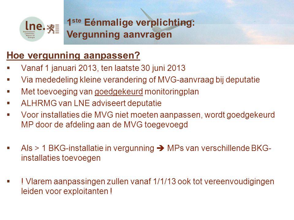 Hoe vergunning aanpassen?  Vanaf 1 januari 2013, ten laatste 30 juni 2013  Via mededeling kleine verandering of MVG-aanvraag bij deputatie  Met toe