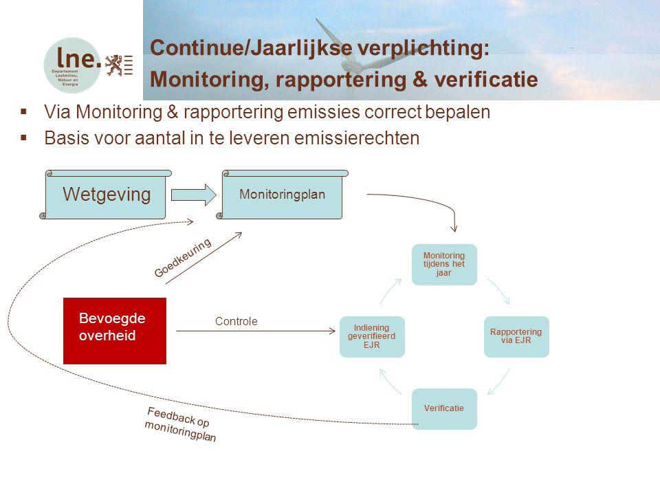 Via Monitoring & rapportering emissies correct bepalen  Basis voor aantal in te leveren emissierechten Continue/Jaarlijkse verplichting: Monitoring