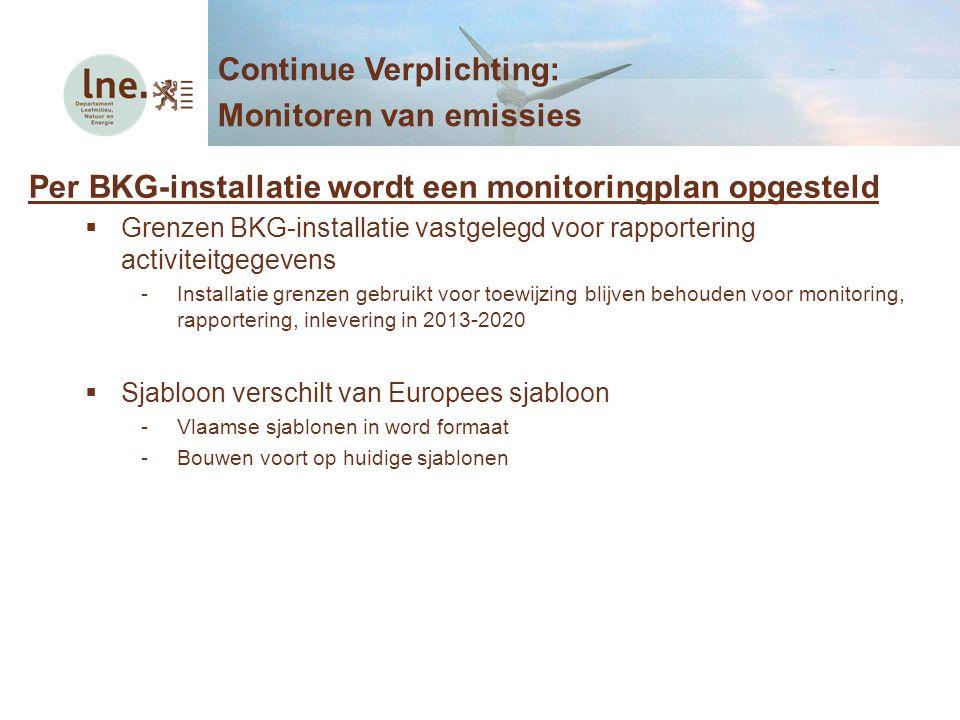 Per BKG-installatie wordt een monitoringplan opgesteld  Grenzen BKG-installatie vastgelegd voor rapportering activiteitgegevens -Installatie grenzen