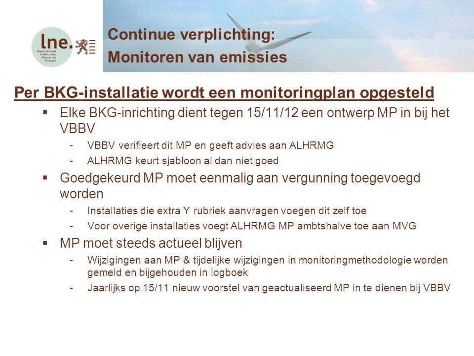 Per BKG-installatie wordt een monitoringplan opgesteld  Elke BKG-inrichting dient tegen 15/11/12 een ontwerp MP in bij het VBBV -VBBV verifieert dit