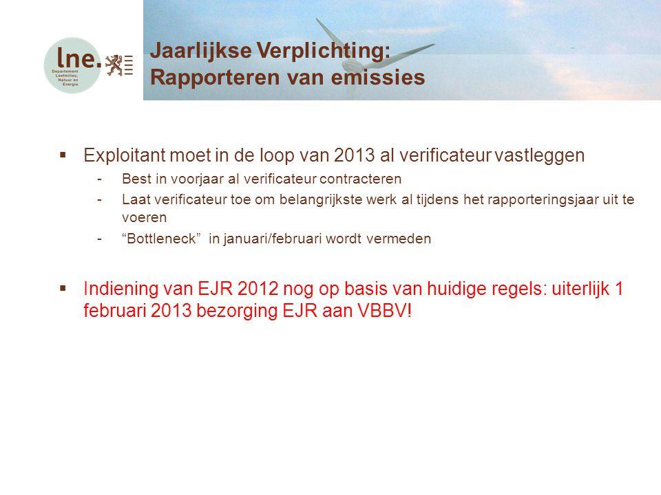  Exploitant moet in de loop van 2013 al verificateur vastleggen -Best in voorjaar al verificateur contracteren -Laat verificateur toe om belangrijkst