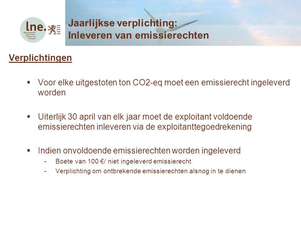 Verplichtingen  Voor elke uitgestoten ton CO2-eq moet een emissierecht ingeleverd worden  Uiterlijk 30 april van elk jaar moet de exploitant voldoen