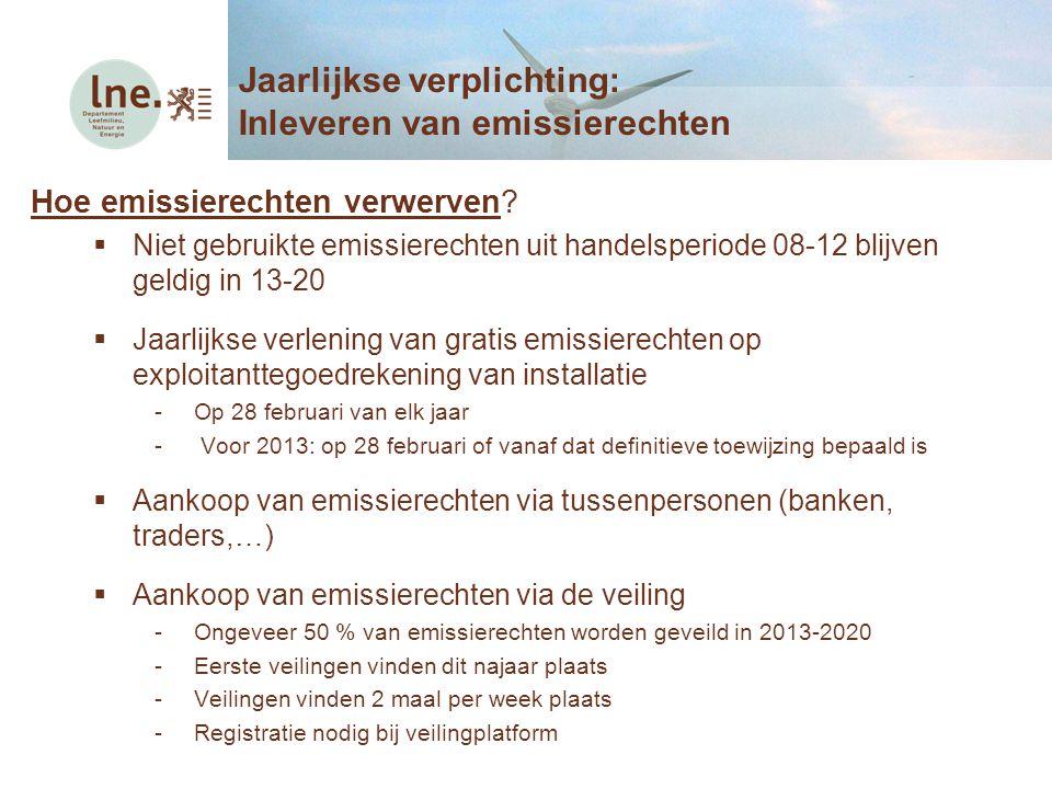 Hoe emissierechten verwerven?  Niet gebruikte emissierechten uit handelsperiode 08-12 blijven geldig in 13-20  Jaarlijkse verlening van gratis emiss