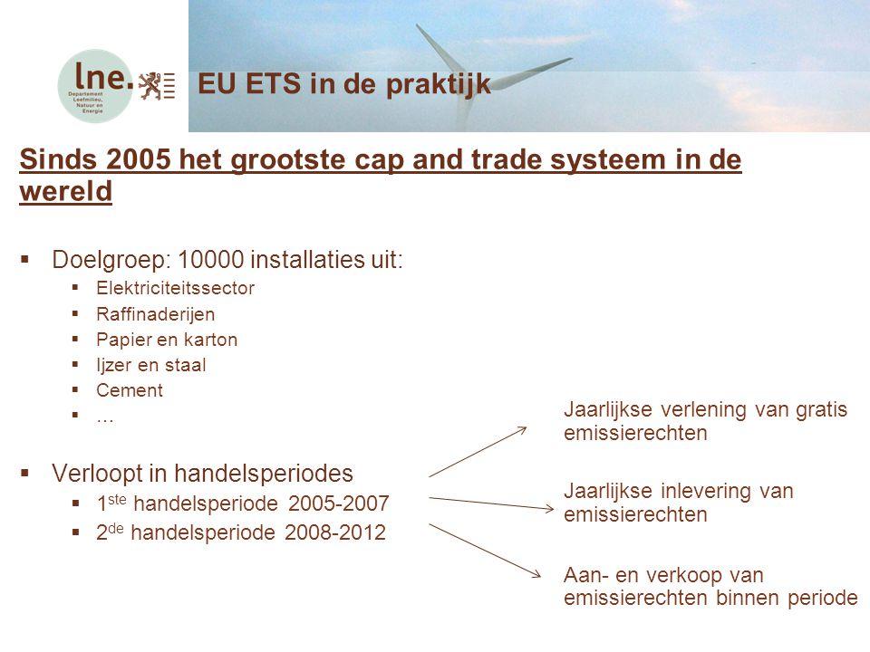 Sinds 2005 het grootste cap and trade systeem in de wereld  Doelgroep: 10000 installaties uit:  Elektriciteitssector  Raffinaderijen  Papier en ka