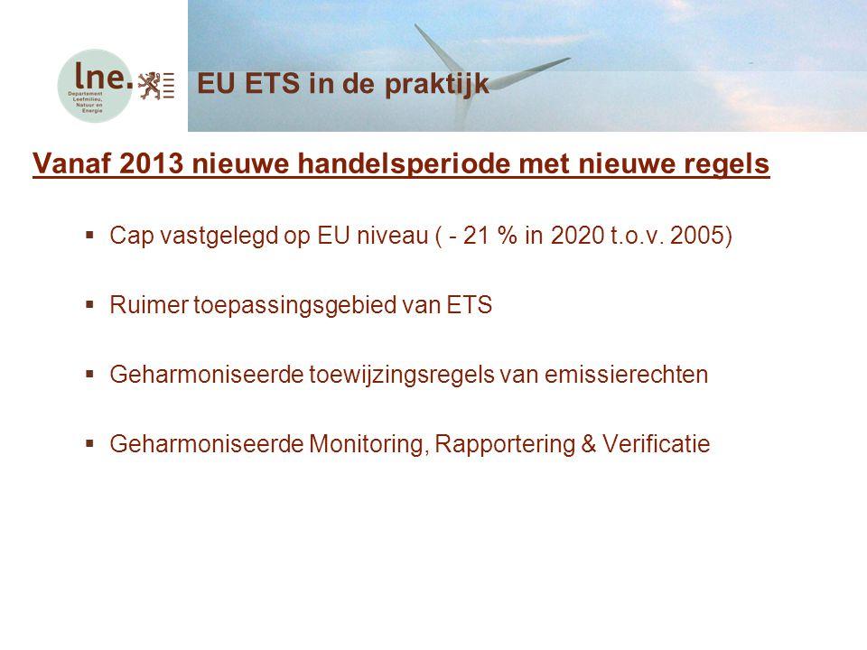 Vanaf 2013 nieuwe handelsperiode met nieuwe regels  Cap vastgelegd op EU niveau ( - 21 % in 2020 t.o.v. 2005)  Ruimer toepassingsgebied van ETS  Ge