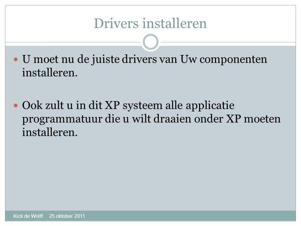 Drivers installeren Kick de Wolff 25 oktober 2011  U moet nu de juiste drivers van Uw componenten installeren.