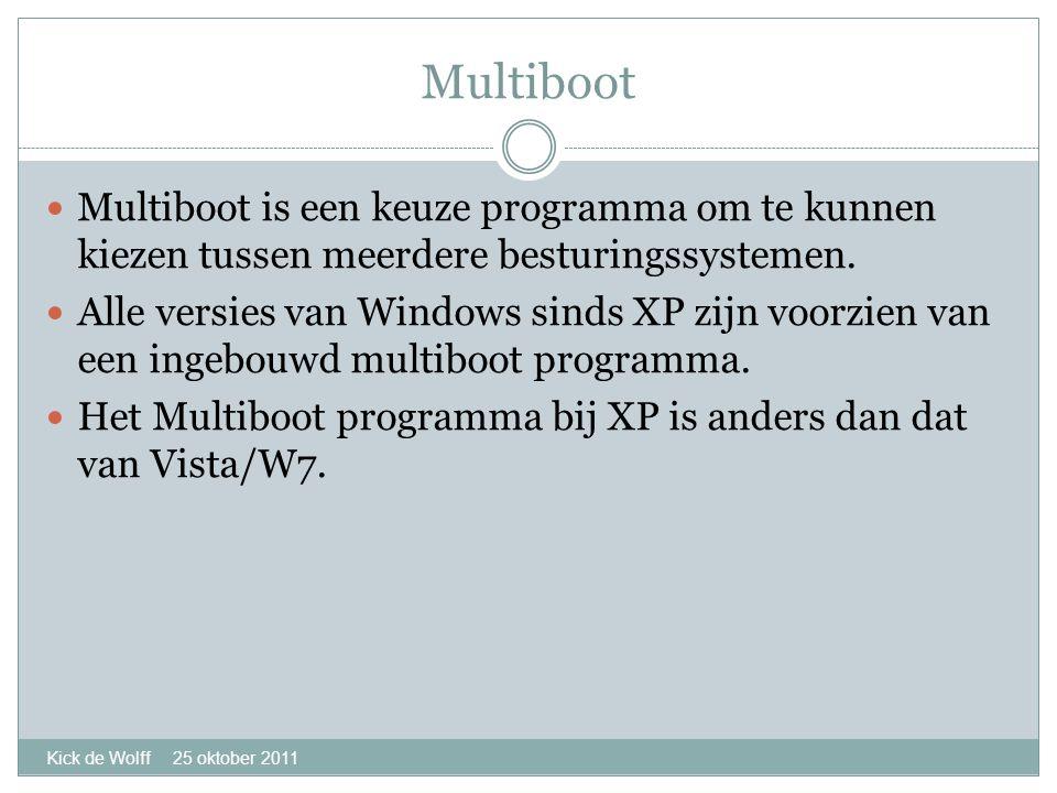 Multiboot Kick de Wolff 25 oktober 2011  Multiboot is een keuze programma om te kunnen kiezen tussen meerdere besturingssystemen.