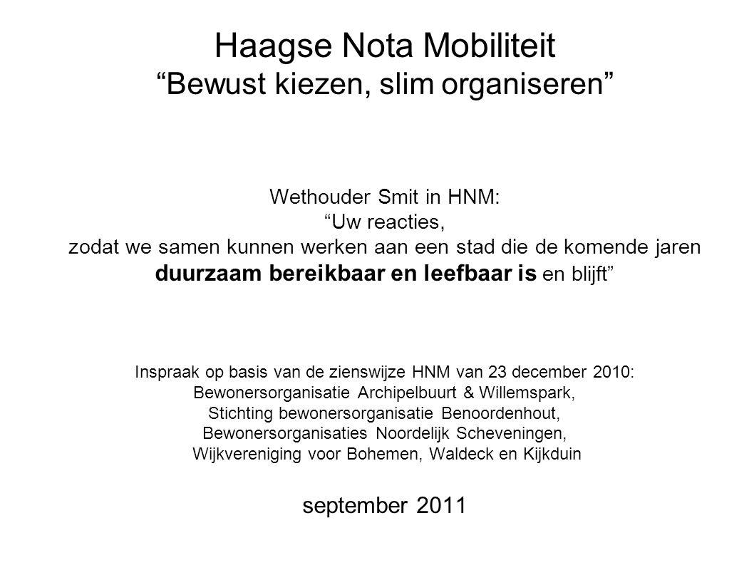 september 2011Zienswijze HNM2 Huidige wegenstructuur Onbalans van inprikkers VCP 1 2 3 4 5 N14 A4 A12 Rotterdamsebaan Inprikkers 1/4 Bevolking 3/4 6 N44 Inprikkers 3/4 Bevolking 1/4