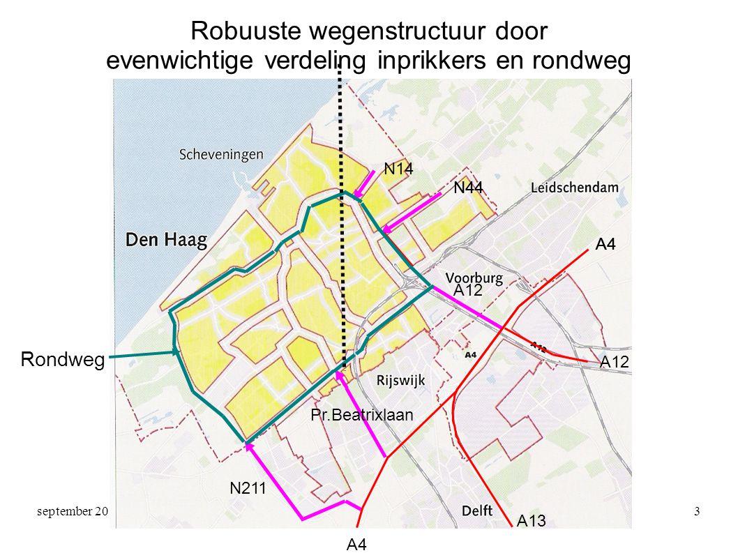 september 2011Zienswijze HNM3 Robuuste wegenstructuur door evenwichtige verdeling inprikkers en rondweg A4 A12 A4 A13 A12 N44 N14 N44 N211 Pr.Beatrixlaan Rondweg