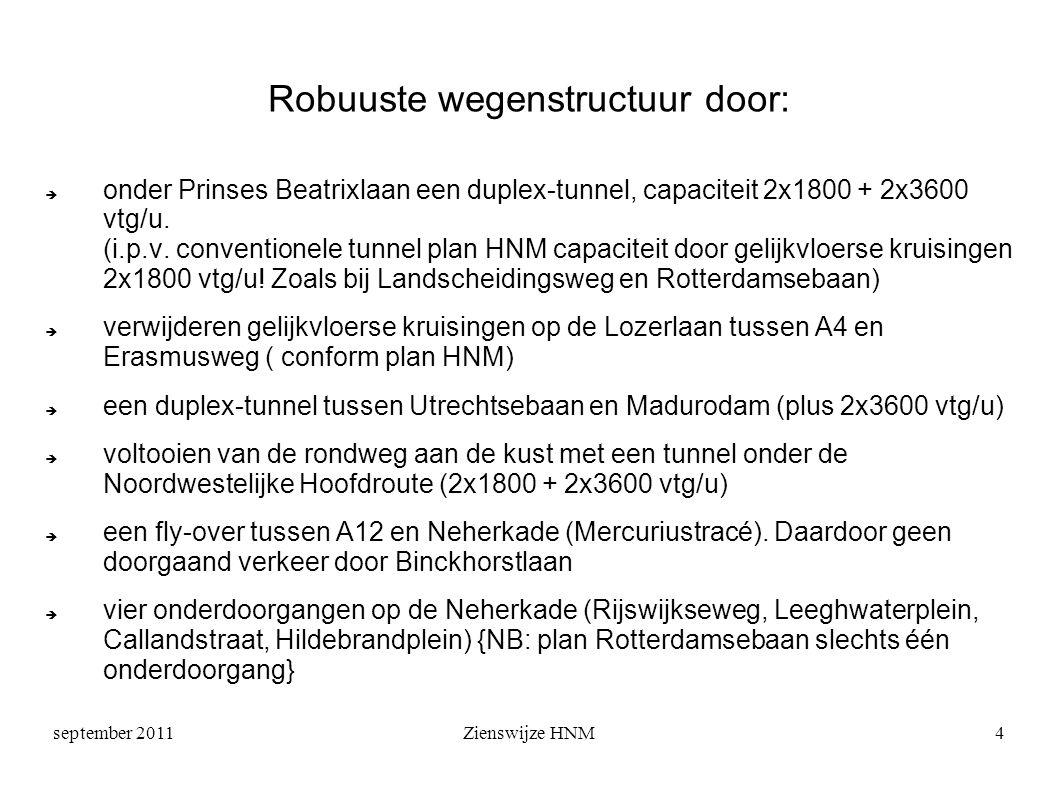 september 2011Zienswijze HNM4 Robuuste wegenstructuur door:  onder Prinses Beatrixlaan een duplex-tunnel, capaciteit 2x1800 + 2x3600 vtg/u.