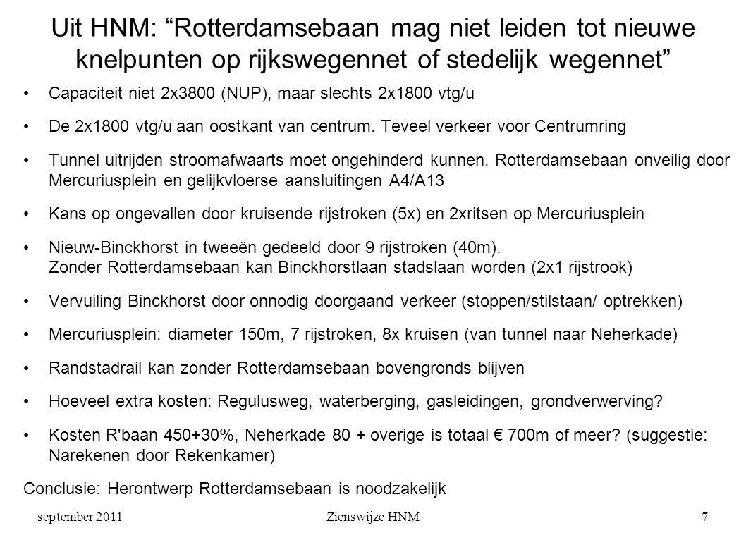 september 2011Zienswijze HNM7 Uit HNM: Rotterdamsebaan mag niet leiden tot nieuwe knelpunten op rijkswegennet of stedelijk wegennet • Capaciteit niet 2x3800 (NUP), maar slechts 2x1800 vtg/u • De 2x1800 vtg/u aan oostkant van centrum.