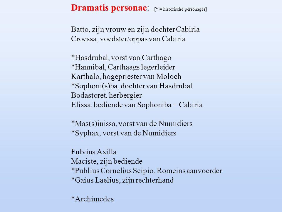 Dramatis personae: [* = historische personages] Batto, zijn vrouw en zijn dochter Cabiria Croessa, voedster/oppas van Cabiria *Hasdrubal, vorst van Ca