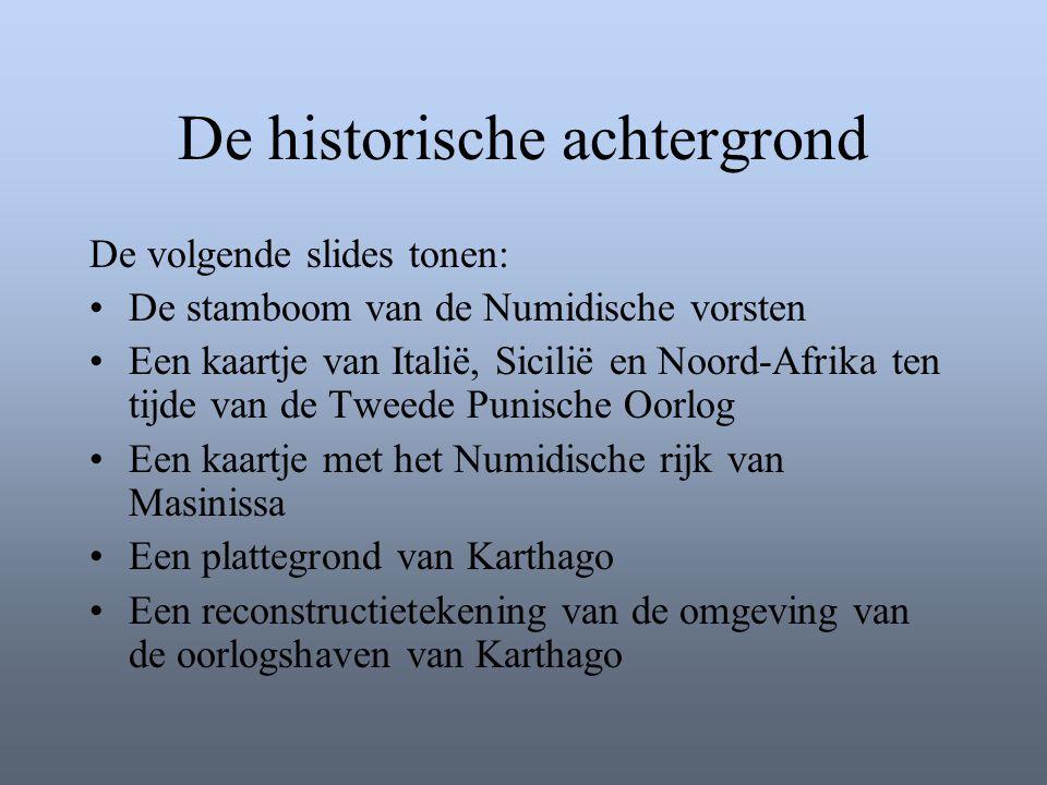 De historische achtergrond De volgende slides tonen: •De stamboom van de Numidische vorsten •Een kaartje van Italië, Sicilië en Noord-Afrika ten tijde