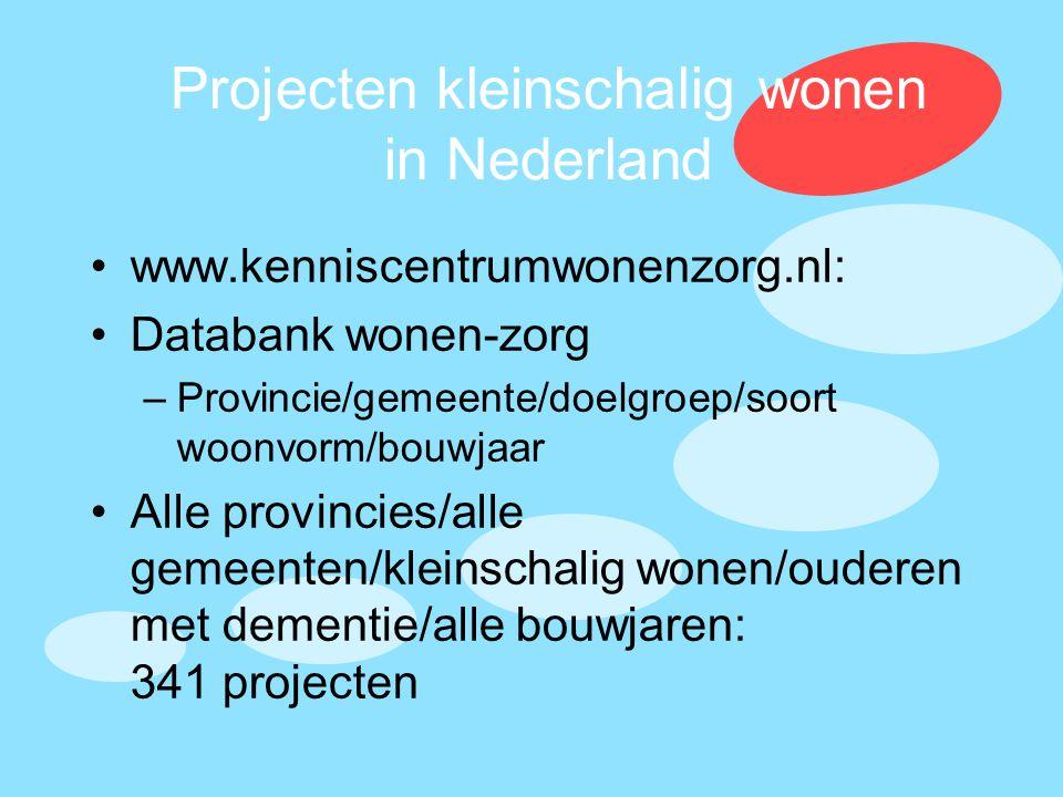 Projecten kleinschalig wonen in Nederland •www.kenniscentrumwonenzorg.nl: •Databank wonen-zorg –Provincie/gemeente/doelgroep/soort woonvorm/bouwjaar •