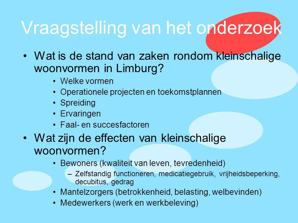 Vraagstelling van het onderzoek •Wat is de stand van zaken rondom kleinschalige woonvormen in Limburg? •Welke vormen •Operationele projecten en toekom
