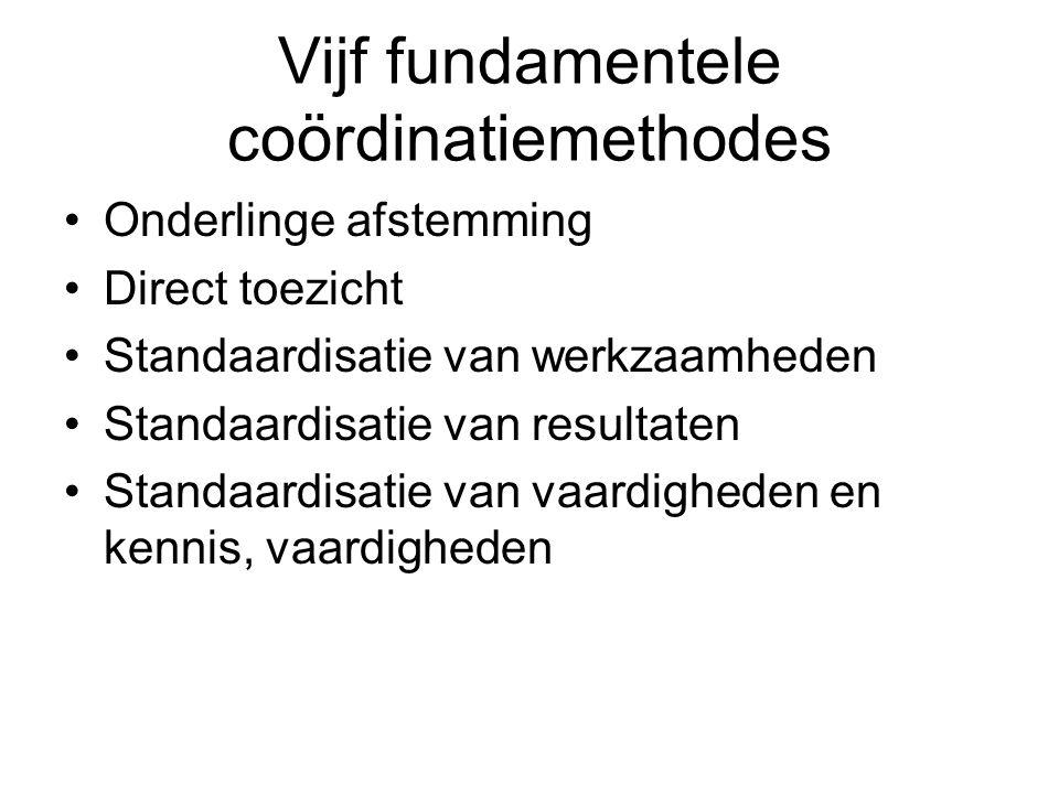 Vijf fundamentele coördinatiemethodes •Onderlinge afstemming •Direct toezicht •Standaardisatie van werkzaamheden •Standaardisatie van resultaten •Stan