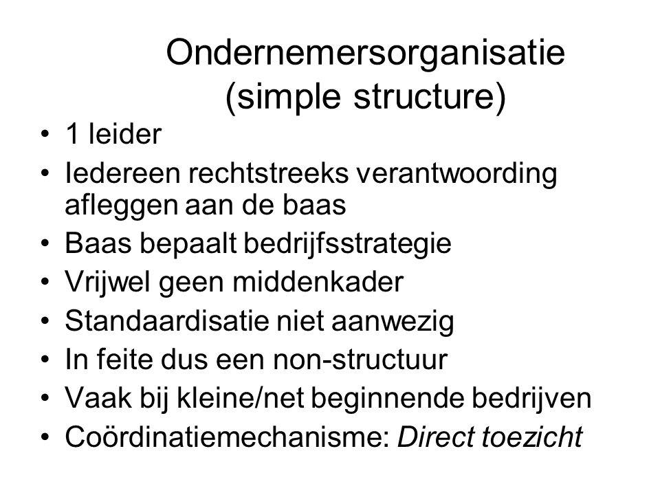 Ondernemersorganisatie (simple structure) •1 leider •Iedereen rechtstreeks verantwoording afleggen aan de baas •Baas bepaalt bedrijfsstrategie •Vrijwe