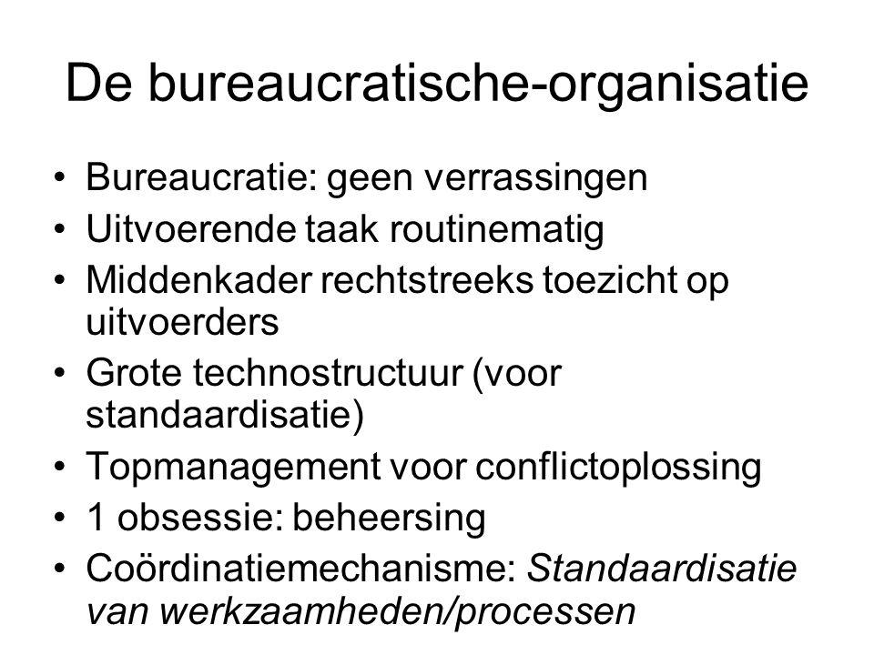 De bureaucratische-organisatie •Bureaucratie: geen verrassingen •Uitvoerende taak routinematig •Middenkader rechtstreeks toezicht op uitvoerders •Grot