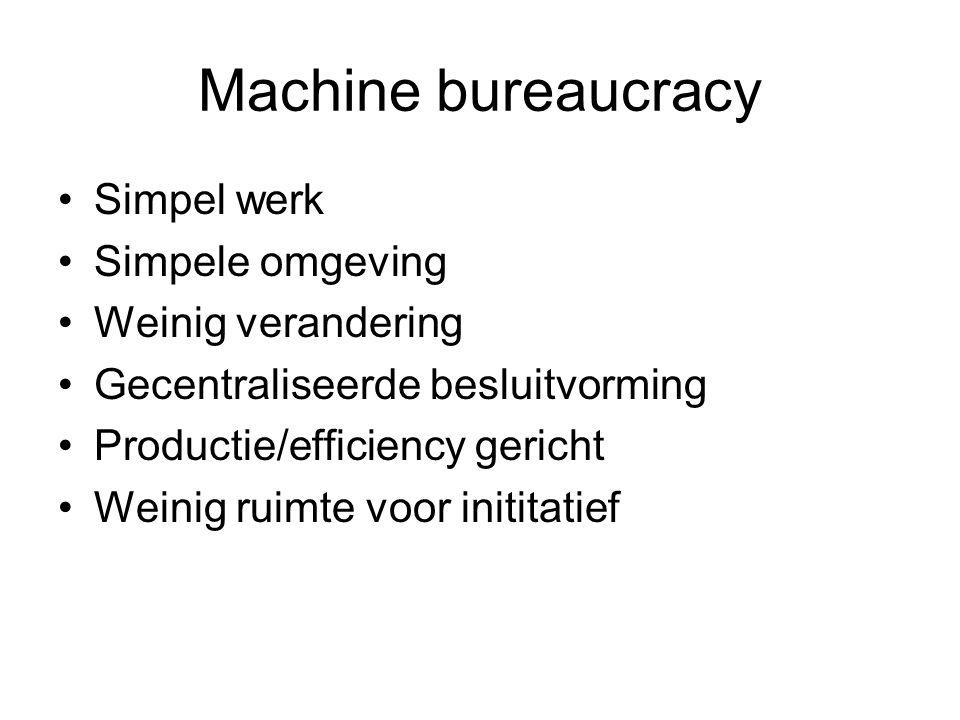 Machine bureaucracy •Simpel werk •Simpele omgeving •Weinig verandering •Gecentraliseerde besluitvorming •Productie/efficiency gericht •Weinig ruimte v