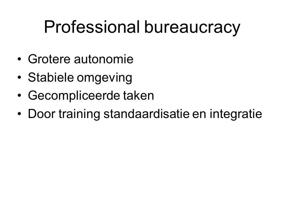 Professional bureaucracy •Grotere autonomie •Stabiele omgeving •Gecompliceerde taken •Door training standaardisatie en integratie