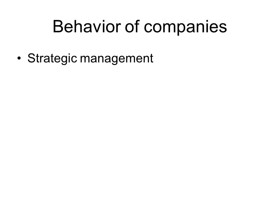 Behavior of companies •Strategic management