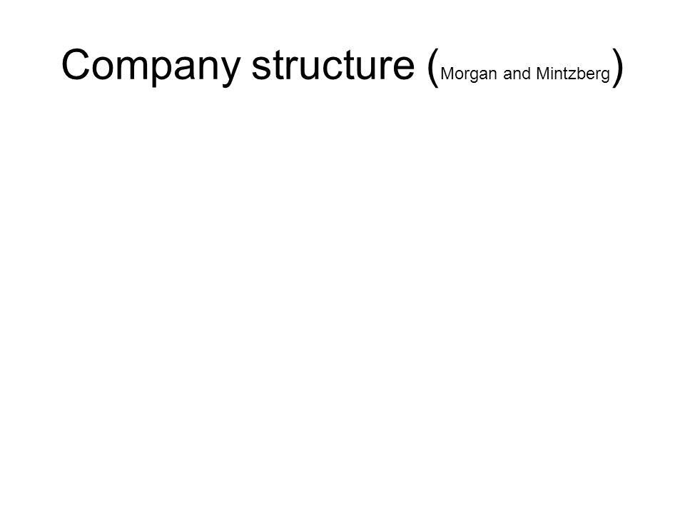 Ondernemersorganisatie (simple structure) •1 leider •Iedereen rechtstreeks verantwoording afleggen aan de baas •Baas bepaalt bedrijfsstrategie •Vrijwel geen middenkader •Standaardisatie niet aanwezig •In feite dus een non-structuur •Vaak bij kleine/net beginnende bedrijven •Coördinatiemechanisme: Direct toezicht