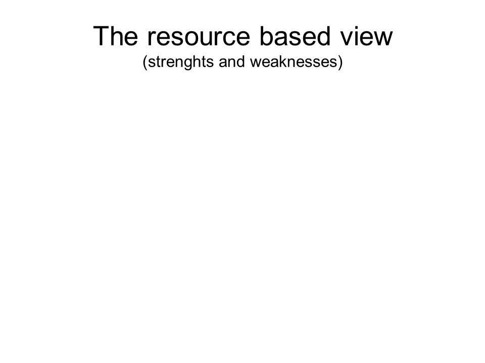The resource based view (strenghts and weaknesses)