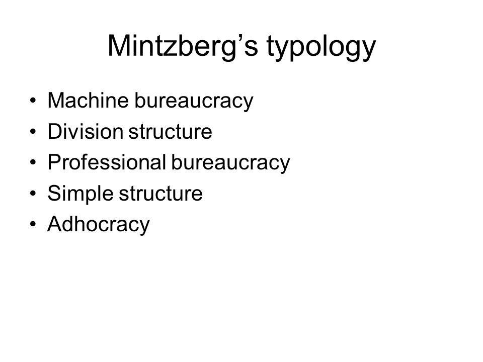Machine bureaucracy •Simpel werk •Simpele omgeving •Weinig verandering •Gecentraliseerde besluitvorming •Productie/efficiency gericht •Weinig ruimte voor inititatief