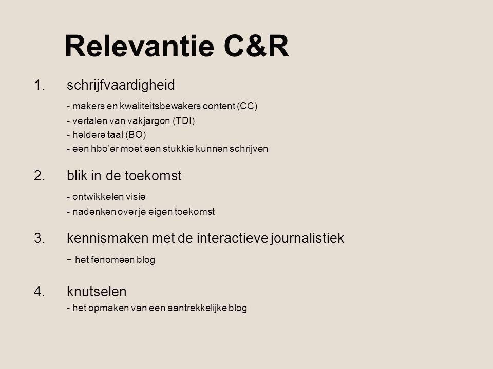Relevantie C&R 1.schrijfvaardigheid - makers en kwaliteitsbewakers content (CC) - vertalen van vakjargon (TDI) - heldere taal (BO) - een hbo'er moet e