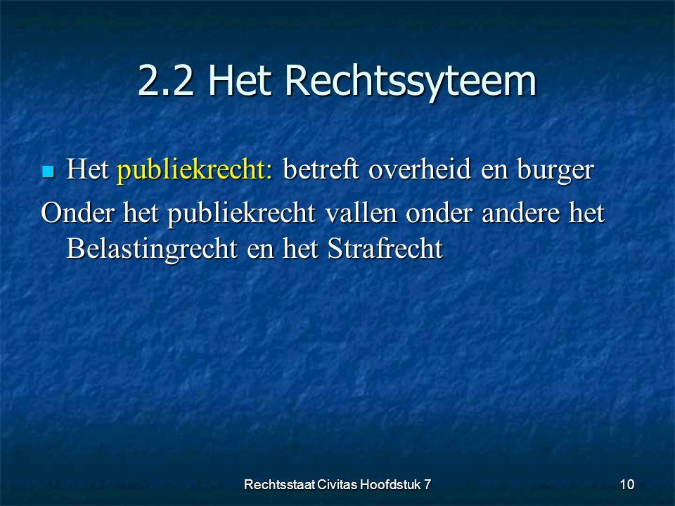 2.2 Het Rechtssyteem  Het publiekrecht: betreft overheid en burger Onder het publiekrecht vallen onder andere het Belastingrecht en het Strafrecht 10