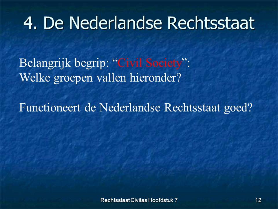 """4. De Nederlandse Rechtsstaat 12 Belangrijk begrip: """"Civil Society"""": Welke groepen vallen hieronder? Functioneert de Nederlandse Rechtsstaat goed? Rec"""