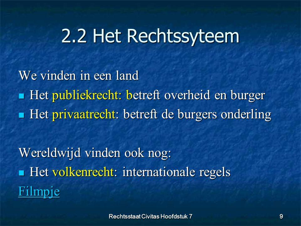 2.2 Het Rechtssyteem We vinden in een land  Het publiekrecht: betreft overheid en burger  Het privaatrecht: betreft de burgers onderling Wereldwijd