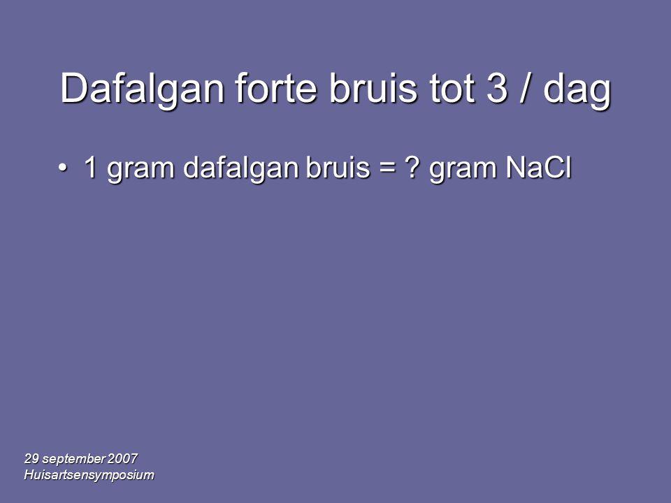 29 september 2007 Huisartsensymposium Dafalgan forte bruis tot 3 / dag •1 gram dafalgan bruis = ? gram NaCl