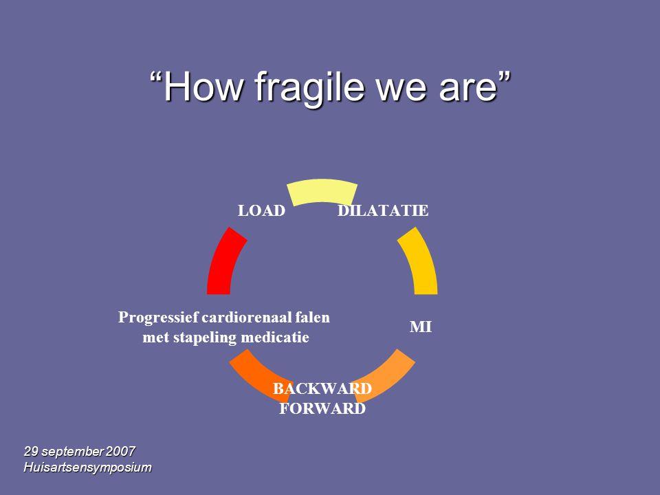 29 september 2007 Huisartsensymposium How fragile we are DILATATIE MI BACKWARD FORWARD Progressief cardiorenaal falen met stapeling medicatie LOAD