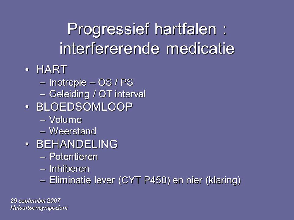 29 september 2007 Huisartsensymposium Progressief hartfalen : interfererende medicatie •HART –Inotropie – OS / PS –Geleiding / QT interval •BLOEDSOMLOOP –Volume –Weerstand •BEHANDELING –Potentieren –Inhiberen –Eliminatie lever (CYT P450) en nier (klaring)