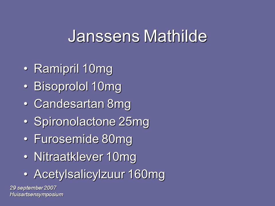 29 september 2007 Huisartsensymposium Janssens Mathilde •Ramipril 10mg •Bisoprolol 10mg •Candesartan 8mg •Spironolactone 25mg •Furosemide 80mg •Nitraatklever 10mg •Acetylsalicylzuur 160mg